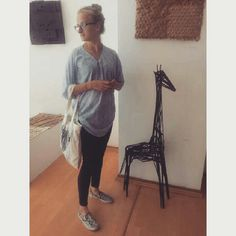 Me and my sculpture. Giraffe. Exhibition.