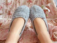 gray crochet slippers