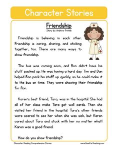 This Reading Comprehension Worksheet ki - Friendship is for teaching reading comprehension. Use this reading comprehension story to teach reading comprehension. Reading Comprehension Worksheets, Reading Fluency, Reading Passages, Comprehension Strategies, Reading Response, English Stories For Kids, English Lessons, Learn English, English Moral Stories