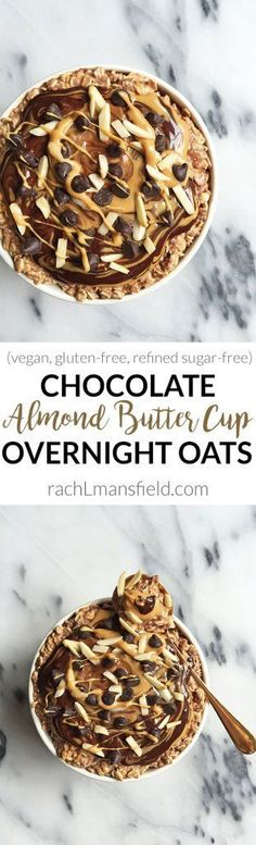 An easy breakfast idea to prep ahead, Dark Chocolate Almond Butter Cup Overnight Oats. A deliciously healthy breakfast to start your day with! Dark Chocolate Almonds, Sugar Free Chocolate, Chocolate Recipes, Healthy Oatmeal Recipes, Vegan Recipes, Healthy Baking, Paleo Oats, Alkaline Recipes, Oats Recipes