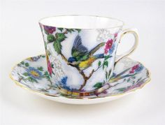 Vintage Old Royal Tea Cup & Saucer Bluebird & Roses Dotted Background Gold Trim