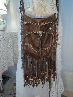 Handmade Boho Fringe Purse Cross Body Hippie Bag Gypsy Handbag Beaded tmyers #Handmade #MessengerCrossBody