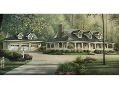 Shadyview Country Ranch Home Exhilarating Southern Plantation Home With Spacious Surrounding Porch from houseplansandmore.com