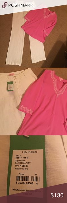 NWT Lilly Pulitzer linen pant. Lilly shirt NWT Lilly Pulitzer hundred percent linen pants size 0. Slightly used size medium Lilly Pulitzer shirt pink with white trim. Lilly runs big. I wear a size 4 and they fit. Lilly Pulitzer Pants Trousers