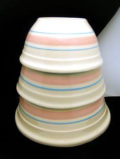 Vintage McCoy Pink Blue Stripe Set 3 Mixing Bowls