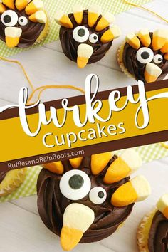 Check out these super fun kid-made turkey cupcakes for Thanksgiving! They're so easy and so ridiculously silly, the kids will love them. Healthy Cupcakes, Fun Cupcakes, Healthy Dessert Recipes, Snack Recipes, Frosting For Chocolate Cupcakes, Caramel Apple Cupcakes, Turkey Cupcakes, Thanksgiving Desserts Easy, Thanksgiving Projects
