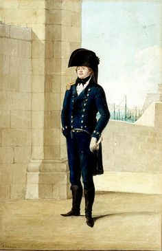 British Royal Navy Captain (under 3 years seniority in rank) in Malta Undress Uniform, circa Note the upturned collars which were, unofficially, fashionable in the Navy for a short while. Royal Navy Uniform, Royal Navy Officer, Military Officer, Military Units, Military History, Navy Uniforms, Maritime Museum, Army & Navy, Napoleonic Wars