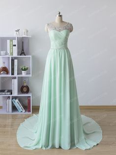 Fashion Mint green Scoop Neck Sweep Train Chiffon prom dresses with Beaded  -  $55.00 Form https://www.everisa.com/fashion-mint-green-scoop-neck-sweep-train-chiffon-prom-dresses-with-beaded