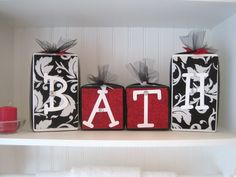 Block Set-Bathroom-Black and White Damask with Red Accent. $28.00, via Etsy.