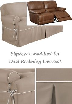 Dual Reclining LOVESEAT Slipcover T Cushion Twill Contrast Taupe Adapted  For Recliner Love Seat