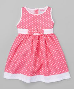 This Hot Pink & White Polka Dot A-Line Dress - Infant, Toddler & Girls is perfect! #zulilyfinds
