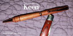Keen Handcrafted Handmade Mahogany Copper Slimline Pen