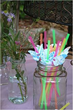 fairy party- great idea for pretty straws and for little bottles with 'woodland flowers in- cow parsley would be perfect!