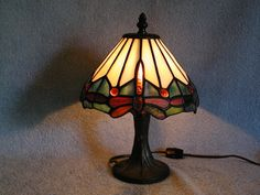Stained Glass Lamp  Tiffa Mini  Dragonfly by SandECollectibles