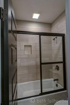 12 x 24 tile on bathtub shower surround Toilet Surround, Bathtub Tile Surround, Shower Surround, Bathroom Renos, Bathroom Renovations, Small Bathroom, Bathroom Ideas, Tile Bathrooms, Bathroom Stuff