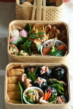 Japanese Bento Boxed Lunch. I like the basket style box although I don't think we will serve Japanese food