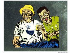 We are alive. Stencil Graffiti, Stencils, Artworks, Street Art, Joker, Fictional Characters, Art Pieces, Jokers, The Joker