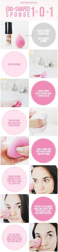 thebeautydepartment.com egg sponge info (ie beauty blender instructions)
