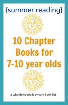 Great summer book list for kids ages 7-10. (2nd-5th grade) All are summer-themed chapter books.