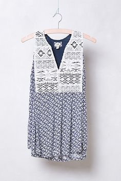 """Embroidered Geo-Print Tank #anthropologie                get in """"grey motif""""  darling!  and bib covers nipples"""