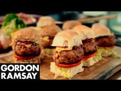 Smoky Pork Sliders with BBQ Sauce - Gordon Ramsay  Sliders are a great snack for a celebration or an easy family dinner. This recipe uses pork mince - which has the perfect fat content for a juicy burger, and a sweet and smoky BBQ sauce. Fantastic. #teelieturner