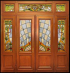 Gorgeous Doors with Stained Glass Stained Glass Door, Custom Stained Glass, Stained Glass Panels, Glass Front Door, Glass Doors, Front Doors, Painting On Glass Windows, Art Nouveau Furniture, Antique Doors