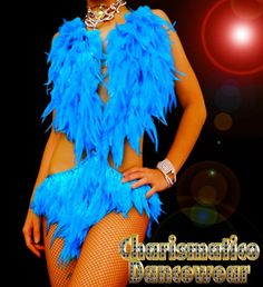 Charismatico Dancewear Store - BLUE Feather Samba Burlesque Dance Dress, $125.00 (http://www.charismatico-dancewear.com/products/BLUE-Feather-Samba-Burlesque-Dance-Dress.html)