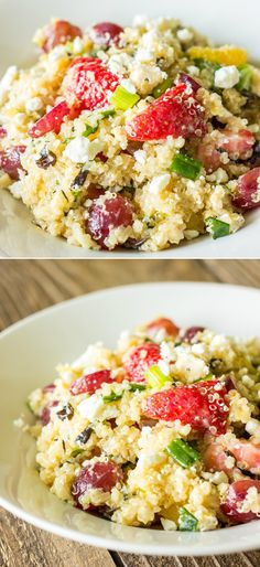 Quinoa is mixed with fruit, salad greens, almonds, and feta.  Then, coated in a sweet apricot dressing.