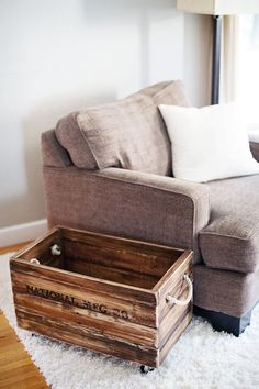 Pallet wood crate purchased on Etsy! | pinchofyum.com