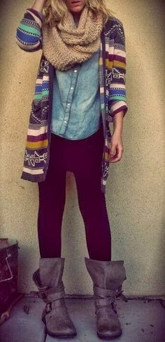 Button down or chambray top with sweater, scarf, black leggings
