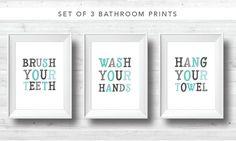 Set of 3 Bathroom Printables  Brush Your by ChynnaHansenDesigns
