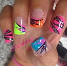 In seek out some nail designs and ideas for your nails? Here's our list of 22 must-try coffin acrylic nails for trendy women. Crazy Nails, Funky Nails, Neon Nails, Trendy Nails, Diy Nails, Cute Nails, Nail Nail, Sparkle Nails, Nail Tech