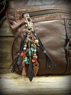Tribal Purse Charm, Purse Tassel, Southwest Beaded Zipper Pull, Bohemian Tassel, by StoneWearDesigns