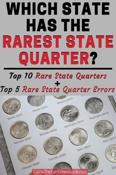 A list of the top 10 rare state quarters you can find in pocket change - see what they're worth. And the top 5 rare state quarter errors to look for! Valuable Pennies, Valuable Coins, Rare Pennies, Old Coins Value, Saving Coins, Old Coins Worth Money, State Quarters, Coin Art, Error Coins