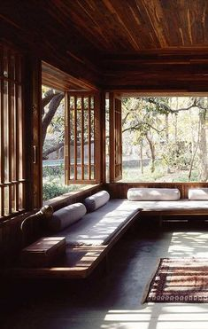 See a variety of bay window styles that are used to capture stunning views, crea. See a variety of bay window styles that are used to capture stunning views, create space for window seats, and fill rooms with light. Studio Mumbai, Modern Interior Design, Interior Architecture, Modern Interiors, Rustic Interiors, Japanese Architecture, Interior Ideas, Moroccan Interiors, Architecture Board