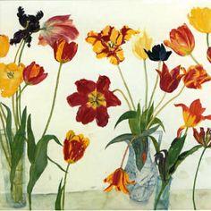 elizabeth blackadder - Google Search Botanical Illustration, Botanical Art, Blackadder, Cat Flowers, Royal Academy Of Arts, Amazing Paintings, Funny Art, Flower Art, Tulips
