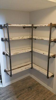 Pipe Shelves Black iron pipe shelf with old fence boards - Iron Pipe Shelves, Black Pipe Shelving, Pipe Shelf Brackets, Iron Shelf, Regal Industrial, Industrial Lamps, Industrial Shelving, Industrial Furniture, Vintage Industrial