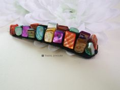 Fashion Hairclip, Big Snap Clip, Multi Colored Mother of Pearl Nuggets Hair Clip, One and Only Hair Clip, Handmade by YaesilJewelry on Etsy