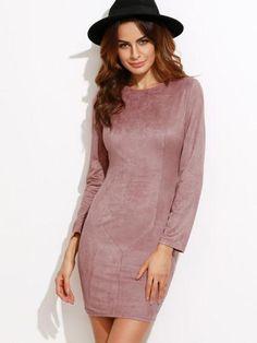 pink suede dress, pink long sleeve dresses, pink dress with black hat - Lyfie