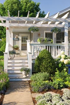 The front porch of this Craftsman bungalow faces south, so it receives direct sun during the warmest part of the day. By adding a pergola for shade and using a cool color plant palette, the space looks and feels cooler than it actually is.  Diamond Frost, Blue My Mind, Laguna Sky Blue, Frosty Knight and Opal Innocence are the plants included in this friendly surrounding that simply says 'welcome'.