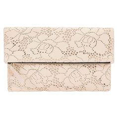Clare V. Women's Supreme Foldover Lace Clutch ($235) ❤ liked on Polyvore featuring bags, handbags, clutches, lace clutches, pink clutches, clare v handbags, square purse and lace handbags