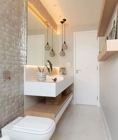 A very clean bathroom idea with good use of space with the shelf underneath ✅🙌🏽 Like if you'd have this bathroom design 🔥 Credit Bad Inspiration, Bathroom Inspiration, Dream Bathrooms, Amazing Bathrooms, Toilet Tiles, Best Bathroom Designs, Bathroom Layout, House Flippers, Bathroom Cleaning