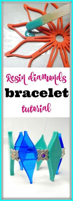 Resin diamonds bracelet tutorial.  How to use resin in a non-traditional resin mold to make a beautiful, diamond-shaped, resin bracelet.