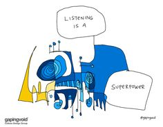 Listening Is A Superpower - gapingvoid art