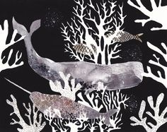 Two Whales and Coral - Archival Print. $20.00, via Etsy.