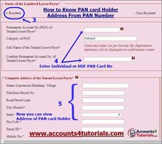 know pan card address Tax Payment, The Tenant, Tax Refund, Income Tax, Number 2, Being A Landlord, How To Know, Card Holder, Names