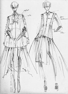 fashion sketchbook illustrations // Peter Do Fashion Design Sketchbook, Fashion Design Portfolio, Fashion Design Drawings, Art Sketchbook, Drawing Fashion, Illustration Mode, Fashion Illustration Sketches, Fashion Sketches, Art Sketches