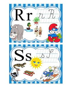 S.T.R.U.M.F.: Alfabetul strumfilor Alice In Wonderland Party, Classroom Decor, Montessori, Coloring Pages, Alphabet, Kids Rugs, Activities, Fun, Future