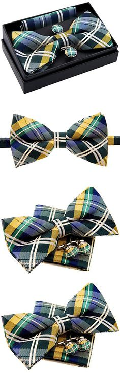 "Retreez Elegant Tartan Plaid Check Woven Microfiber Pre-tied Bow Tie (Width: 5"") with Pocket Square and Cufflinks, Gift Box Set as a Christmas Gift, Birthday Gift - Dark Green, Yellow and Navy Blue"