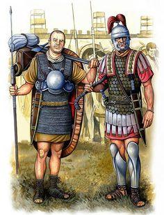 Legionario y Centurión en el siglo I a.C., por Ángel García Pinto. Más en www.elgrancapitan.org/foro